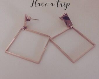 Square Modern Rose Gold earrings