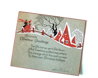 Vintage Art Deco Christmas Card Winter Village Scene