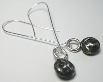 Sterling Silver Earrings  - Sterling Silver Nugget Earrings  - Organic Sterling Silver Earrings  - Rustic Earrings - Solid Sterling Silver