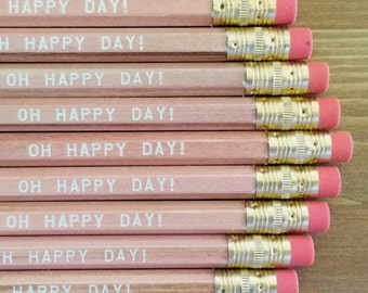Oh Happy Day Pencil 6 pack - Great wedding favors and gifts, shower decor, shower gifts, love gifts, romantic gifts, stocking stuffer