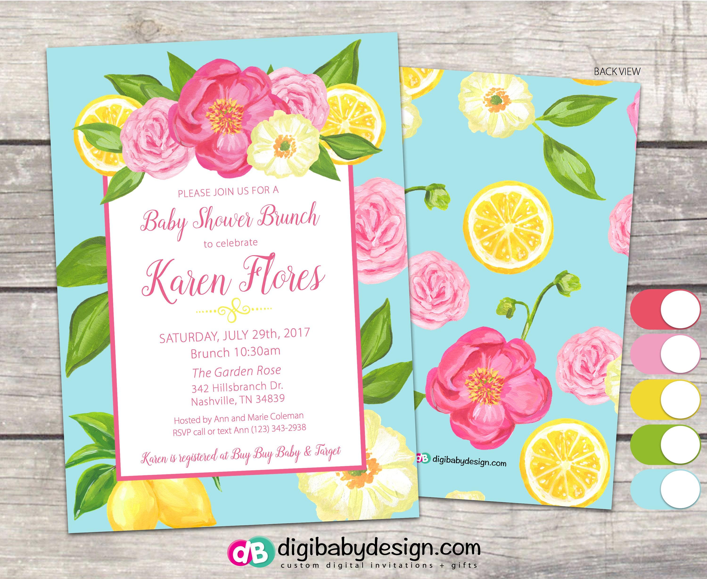 Floral Lemon and Roses Brunch Baby Shower Invitation teal