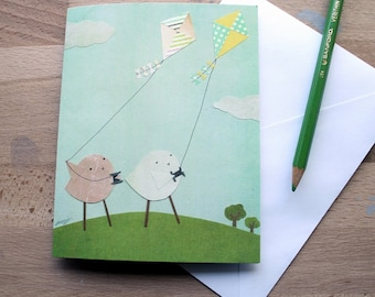CARD: Birds Flying Kites - Blank, Funny, Any Occasion
