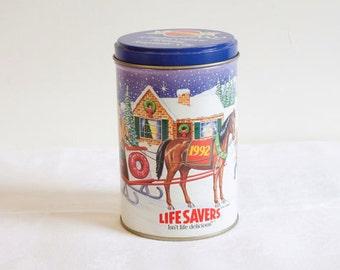 Vintage 1992 Lifesavers Candy Christmas Tin Box
