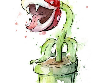 Mario Art Print Nintendo Wall Art Piranha Plant Watercolor Painting Giclee Print Gaming Wall Decor Geek Painting Mario Bro Fan Art