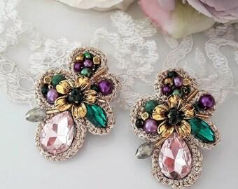 Clip on earrings - emerald green - pink - purple