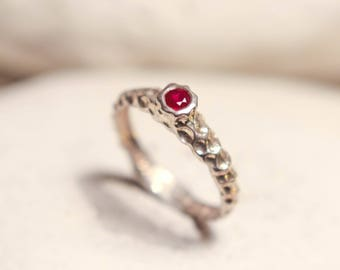 red ruby ring, sterling silver ring , textured silver ring, red ring, dainty ring, ruby promise ring, July birthstone