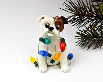 Bulldog rouge blanc Noël ornement Figurine lumières porcelaine