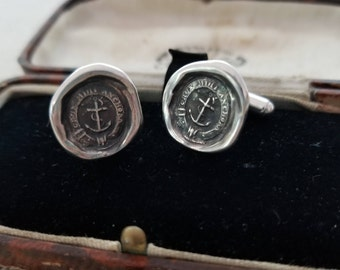 Anchored Cross Cufflinks - from Antique wax seal with Latin Motto - Anchor Cufflinks - Christian Cufflinks - Anchor Jewelry - 225CUFFL