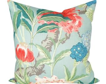 Enchanted Garden Aqua designer pillow covers - Made to Order - Schumacher
