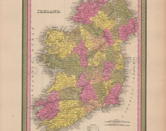 Ireland Vintage Map Irish Decor History Heritage Gift Mitchell 1847