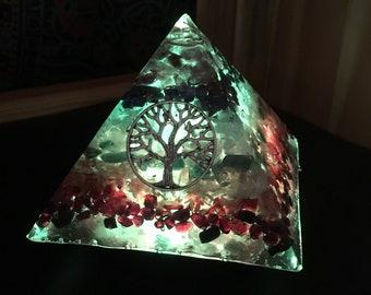 Orgone Pyramid, Reiki infused, Chakra, Meditation, Color Therapy, Night light #197