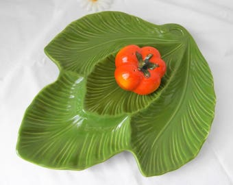 Relief plate as green leaf party platter serving plates from the 1960s to the 1970s