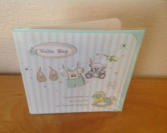 Baby boy green and white card + envelope
