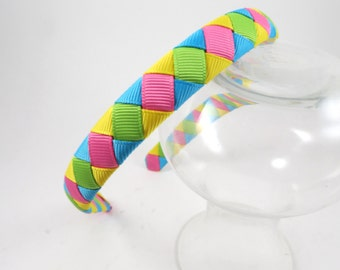 Ribbon Woven Headband - Hot Pink Headband - Turquoise Headband - Yellow Headband - Green Headband  - Toddler Child Teenager Adult Headband