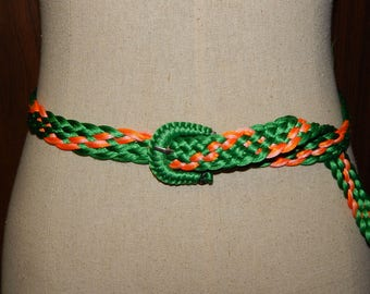 70s Neon Colorful Woven Braided Belt for waist up to 28