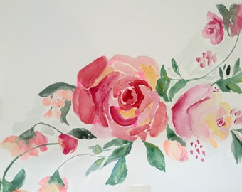 Watercolor Roses Floral Print