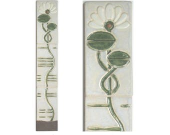 Water Lily Arts and Crafts 3x18 Decorative Handmade Vertical MUD Pi Tile Mural