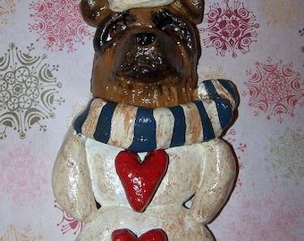 Folk Art Vintage Nostaglic Style German Shepherd Dog Snowman Heart Ornament Ooak