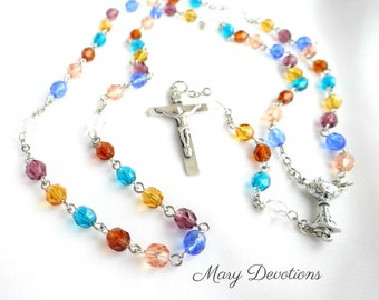 Bread of Life Multi-Colored Glass Bead First Communion Rosary