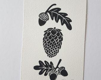 Autumn specimens lino print, acorns and pinecones, pinecone lino, acorn and leaf, autumn leaves, linoleum art print, botanical illustration