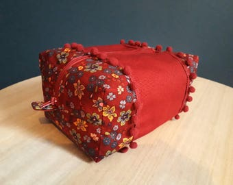 Red case with flower pattern