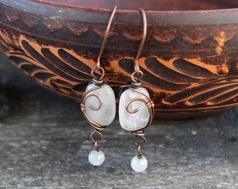Gemstone long earrings  Wire wrap Rose Quartz Earrings Wire Woven  Copper earrings Rustic Sister gift