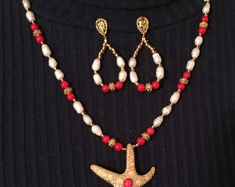 Starfish necklace earrings set with freshwater pearls and coral