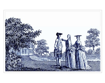 Antique Rural Scene. Blue and White Print Rural Scene In The English Countryside. Showing Off The New House To Her Brother and Wife.