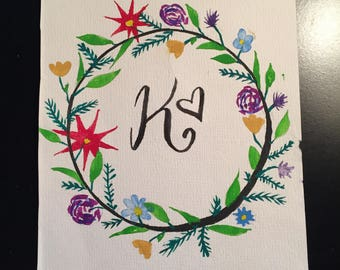 watercolor floral K