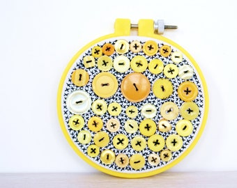 Embroidery Hoop Art, Upcycled Textile And Vintage Button Art, Lemon Citrus Licorice Allsorts, Yellow, Gold, White, Black, Button Decor