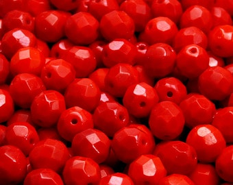 25pcs Czech Fire-Polished Faceted Glass Beads Round 8mm Opaque Red Coral