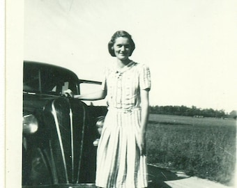 1940s Ohio Thin Woman Woman Standing With Car Fields Dirt Road 40s Vintage Photograph Black White Photo