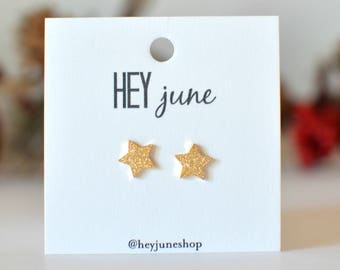 Christmas star earrings, sparkly star earrings, gold sparkly star earrings, star stud earrings, christmas, star studs, sparkle stars