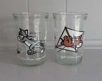 2 Tom and Jerry Welch's Jelly Jar Cups with Tom the Cat and Jerry the Mouse