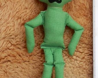 """ALIEN DOLL Green swirls w/Mustache 16"""" tall"""