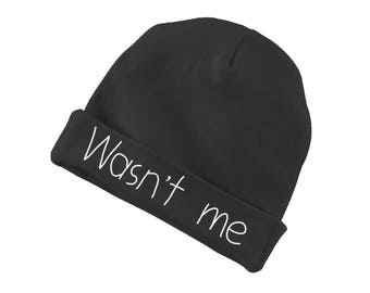 Wasn't Me Funny Cotton Beanie For Infants