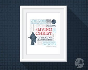 "The Living Christ LDS art, 8x10 instant download printable, ""Nautical"" colors, square subway art"