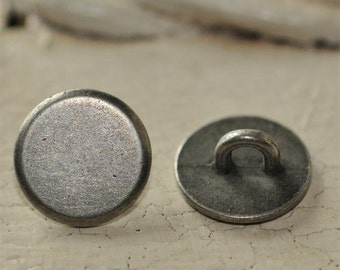 Set of 6 Antique Silver 10mm Flat Blank Shank BUTTONS...turn your Cabochon's into Buttons