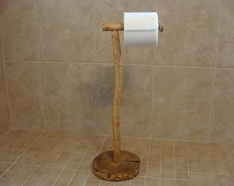 Rustic Wood Pedestal Toilet Paper Holder (free Standing, Floor)