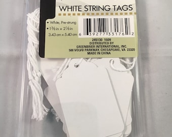 White string tags- tags with strings- 1 3/8 by 2 1/8