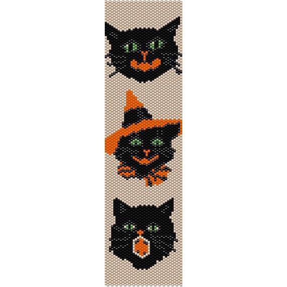 3 Halloween Cats Peyote Bead Pattern Bracelet Cuff Bookmark