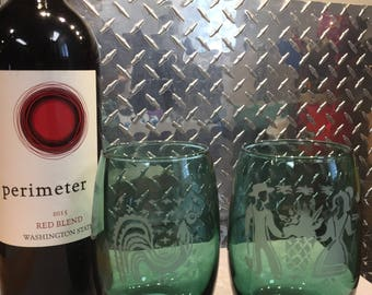 Pyrex Amish Butterprint style stemless wine glasses