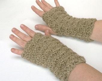 Fingerless Gloves Wristwarmers -Soft Brown Oatmeal