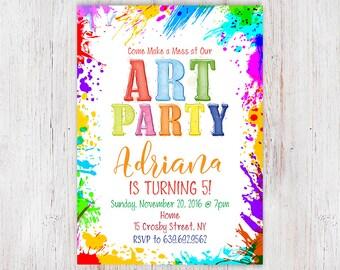 Art birthday party invitation, paint birthday party, paint party invitation, craft party invitation, rainbow art, painting party  58