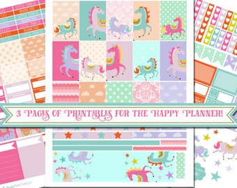 Unicorns - XL Printable Sticker Kit - 180 Stickers for MAMBI Happy Planner - Instant Download- 3 Pages - Fantasy Stickers - 80's Inspired