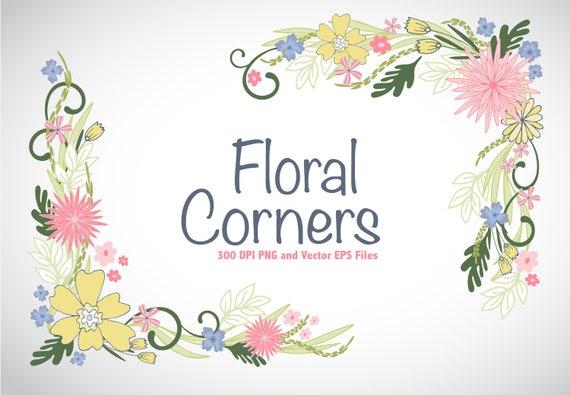 Floral Esquinas Vector EPS Y PNG Clipart Bodas Guardar La