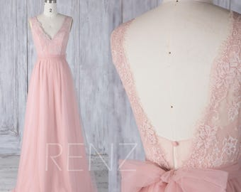 Bridesmaid Dress Blush Pink Tulle Dress,Wedding Dress,V Neck Prom Dress,Lace Illusion V Back Maxi Dress,Sleeveless A-Line Party Dress(LS325)