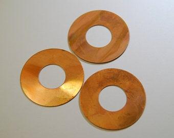 3 Large Vintage Copper Donuts