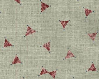 Japanese Fabric Kokka geo barkcloth - red, latte - 50cm