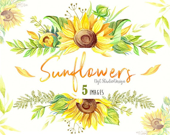 Watercolor sunflowers wreath frame clipart rustic summer